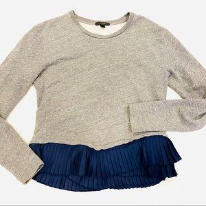 J. Crew gray sweatshirt with blue ruffle hem